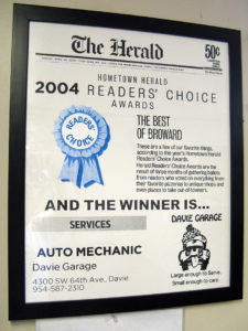 2004 Readers Choice Awards for Davie Garage for auto mechanic in Broward county